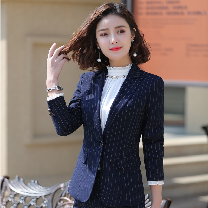 Fashion Striped Formal Blazers And Jackets Coat Long Sleeve Spring Autumn For Women Ladies Office Outwear Tops OL Clothes