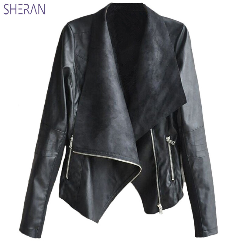Leather   Short Sackets Women 2018 New Fashion Women Fur Coat Slim Irregular PU Women's Jackets Autumn Plus Size Women Clothing