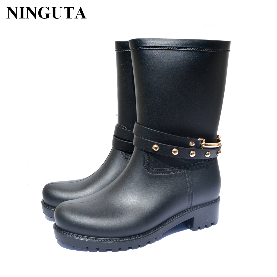Buy Fashion Rivets Rain Boots Women Rubber Boot Shoes Woman Foot Wear 3 Colors