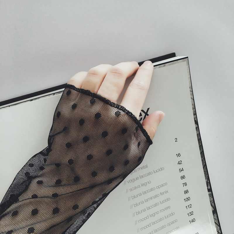 女性長袖トレンドメッシュトップス透明ハイネック黒レース底入れシャツパンクシックな女性ブラウス