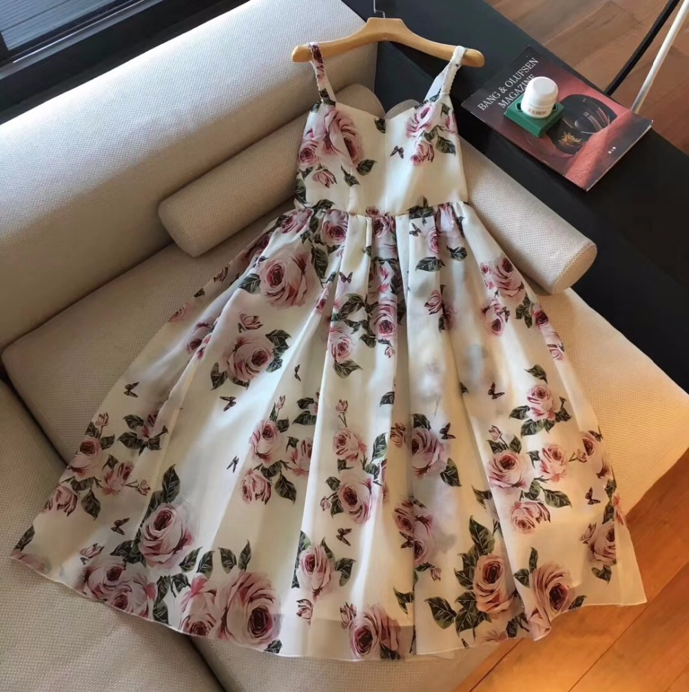 2018 woman sleeveless tank dress flora rose printed ball gown dress