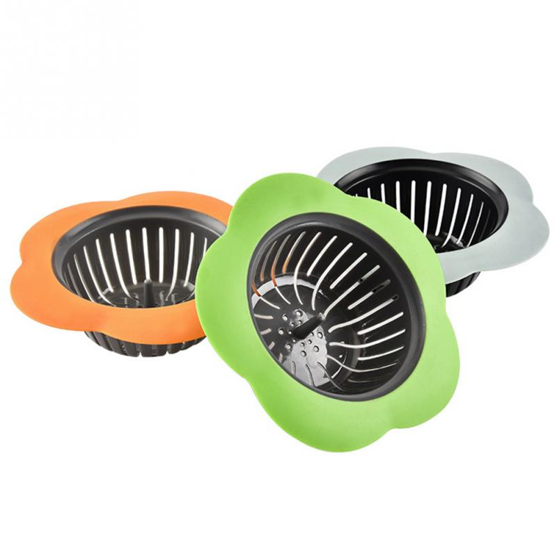 Hot Flower Shaped Silicone TPR Kitchen Sink Strainer Bathroom Shower Drain Sink Drains Cover Sink Colander Sewer Hair Filter