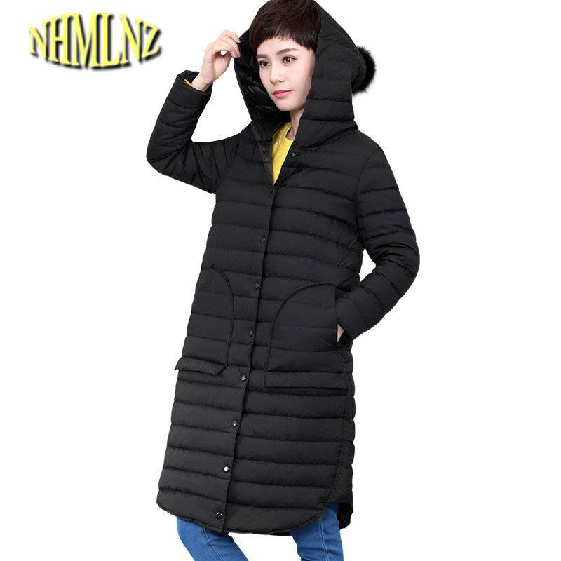 Women winter jacket 2017 latest fashion loose coat Medium long Large size hooded jacket Thick warm cotton Outerwear Women G2875 2017 winter classic fashion fur hoodie coat jacket women thick warm long sleeve cotton coats student medium long loose overcoat