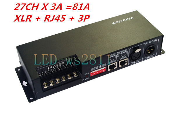 27CH dmx512 decoder, controller,LED drive,with case, 9 group RGB each CH max 3A,DC12-24V output,for LED, XLR & RJ45 & 3P fast shipping 3pcs 24ch dmx512 controller decoder ws24luled 24 channel 8groups rgb output dc5v 24v for led strip light module