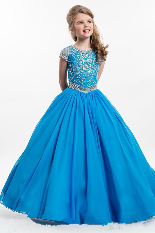Elegant Blue Red Kids Flower Girls Dresses With Beaded Floor Length Pageant Party Gown For Girls Any Size commercial sea inflatable blue water slide with pool and arch for kids