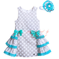 Pettigirl 2017 Summer Polka Dot Cotton Girls Dress With Headband Tiered A-line Boutique Kid Costume G-DMGD907-768