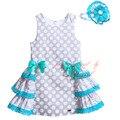 Pettigirl 2017 polka dot verão meninas de algodão vestido com headband g-dmgd907-768 em camadas a linha boutique traje do miúdo