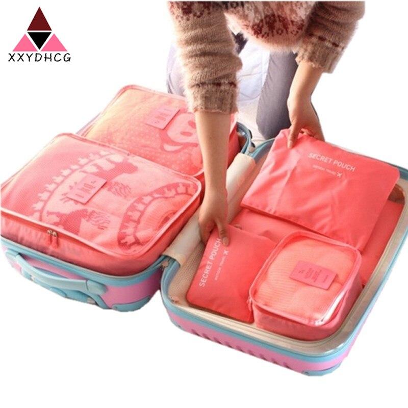 Hot 6pcs/Set Luggage Travel Organizer Bag Large For Men Women Multifunction Underwear Finishing  Cosmetic Organizer Make Up Bags
