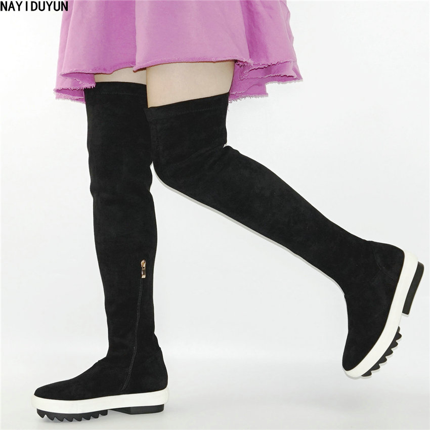 NAYIDUYUN   New Women Black Grey High Heels Over The Knee High Boots Faux Suede Slim Leg Tall Shaft Booties Wedges Punk Sneakers nayiduyun women wedge high heel point toe over the knee high boots pull on long sneakers party oxfords punk platform creepers