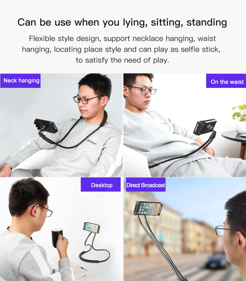 Fimilef Flexible Mobile Phone Holder Hanging Neck Lazy Necklace Bracket Smartphone Holder Stand For iPhone Xiaomi Huawei (1)