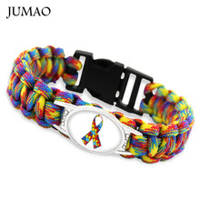Faith Hope Love Autism Mom Dad Awareness Ribbon Heart Puzzle Pieces Paracord Survival Bracelets Bangles(China)