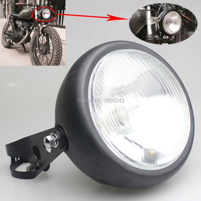 Motor Retro Black Metal 35W Halogen Front Headlight Lamp Kit Fits For CG125  GN125 Harley Cafe