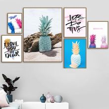 Beach Colorful Pineapple Landscape Wall Art Canvas Painting Nordic Posters And Prints Pictures For Living Room Decor
