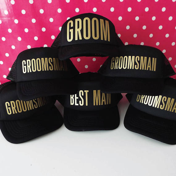 cd541293813 personalize wedding groom best man groomsmen Bachelorette party Mesh  Trucker Snapback trucker hats caps gifts favors