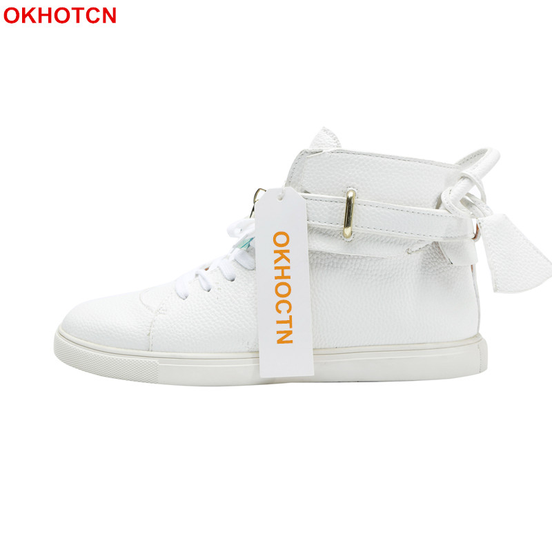 Fashion White Hip Hop Shoes Men Sneakers Lace Up Metal Lock Leather Casual Shoes Men Solid