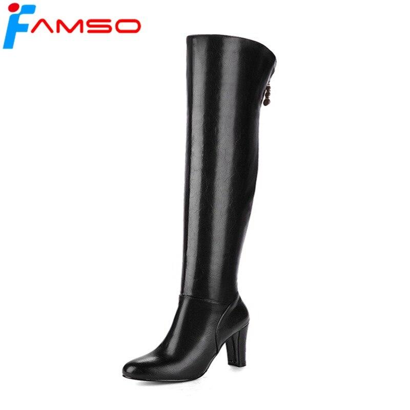 FAMSO 2018 Novas Mulheres Botas Zipper Sapatos de Salto Alto Vermelho Do Partido sapatos de Inverno manter Quente sobre As Botas do joelho Preto Para A Senhora