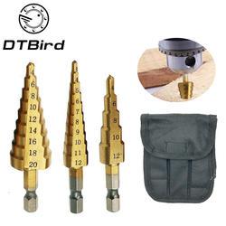 1 шт 3-13 мм HSS Титан покрытием ступенчатые сверла Мощность инструменты карбида дрель мини сверло Набор 3-12 мм 4-12 мм 4-20 мм DT6