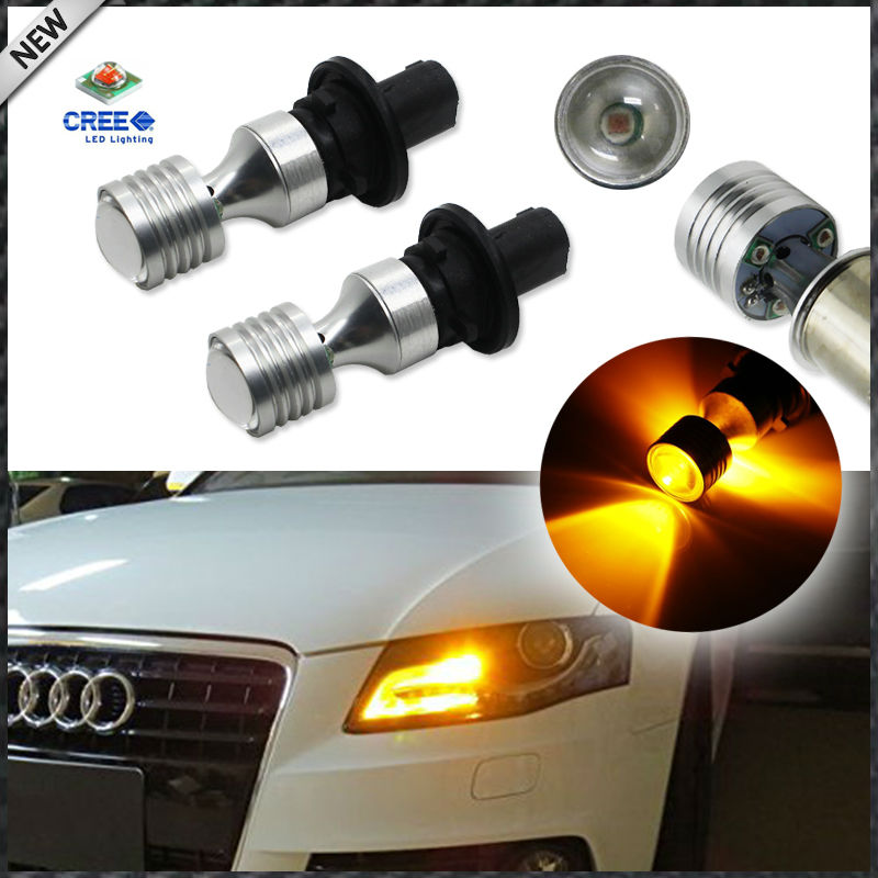 (2) Amber Yellow Error Free PH24WY SPH24 12272 LED Bulbs For Audi Cadillac GMC,etc For Front Turn Signal Lights ijdm amber yellow error free 2835 led 1156 p21w led bulbs for car front or rear turn signal lights daytime running lights