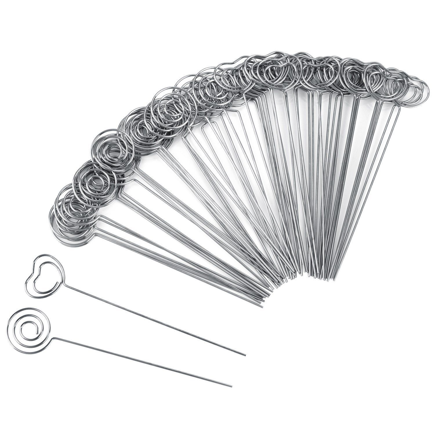 60 Pieces Metal Wires Memo Clip Note Card Holders Table Number Clip Photo Stand For Wedding Party Cake Decor, Round And Heart