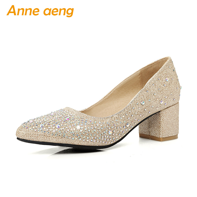 women pumps high heel pointed toe bling wedding shoes crystal sequined cloth sweet party bridal shoes Red gold women shoes