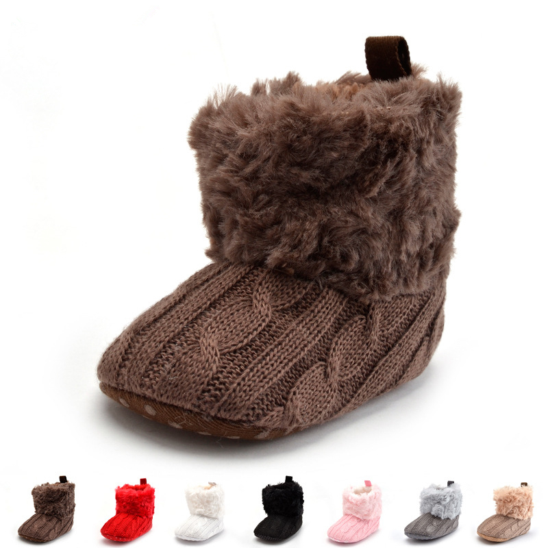 62b7ce0a7f5b Newborn Baby Boy Shoes Infants Crochet Knit Fleece Boots Toddler ...