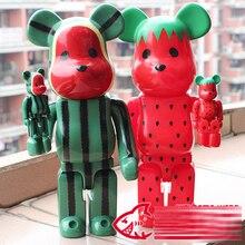 Vinyle Poupée Bearbrick Be @ rbrick DIY OriginalFake KAWS 400% Poupées avec la boîte jouets Ours Blocs pastèque ou Fraise 28 cm + 7 cm