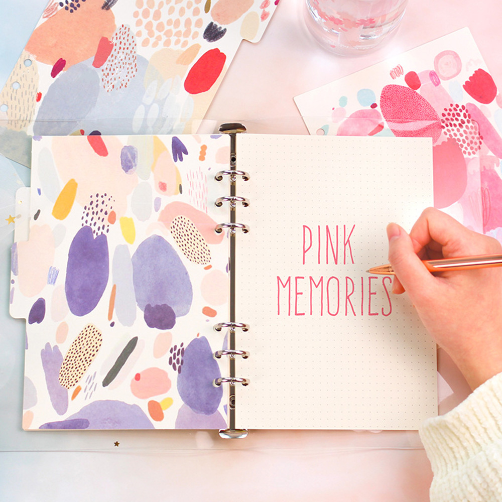 5 Sheets Pink Memory Series Dividers A5 A6 Spiral Notebook Loose Leaf Separator Pages Notebook Paper Watercolor Inside Pages