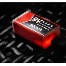 20PCS USB טעינה 9V 500mAh ליתיום הסוללה נטענת סוללה 9v ליתיום עבור מודד מיקרופון צעצוע שלט רחוק KTV