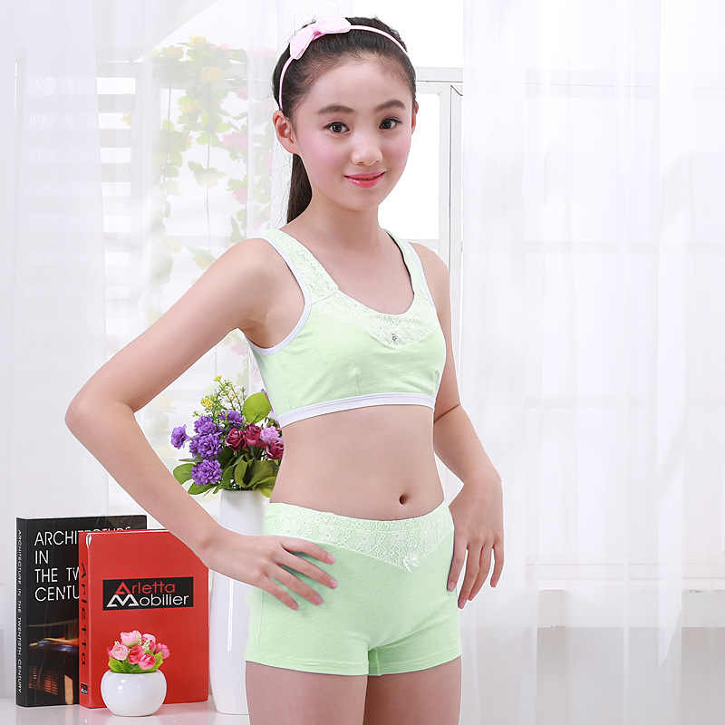 a1a9874fc2 ... Girls Clothing Teenage Children Cotton Underwear Set Training Bras  Camisole vest   panties boxer Puberty Young ...