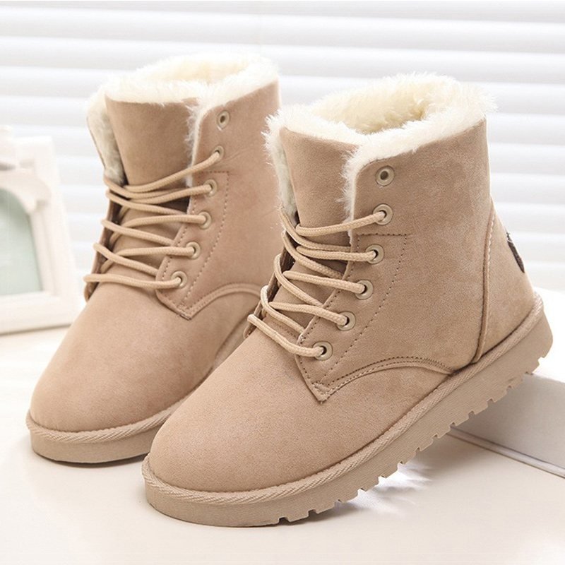 Classic Women Winter Boots Ankle Snow Boots Female Warm Fur Plush Insole Suede Botas Mujer Lace-Up 2017 new fashion women winter boots classic suede ankle snow boots female warm fur plush insole high quality botas mujer lace up