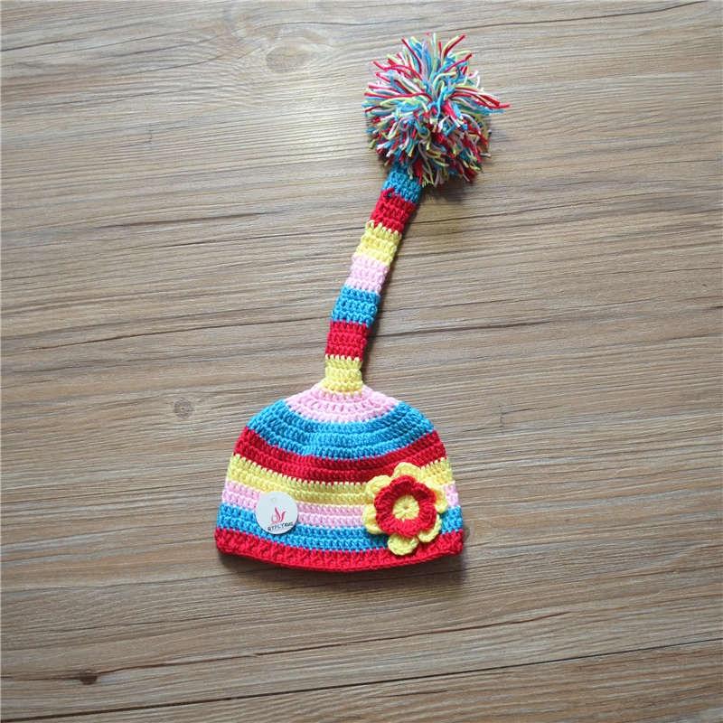 Kapelë foshnje kapelë të porsalindur kapelë prej leshi me paragraf të gjatë kapelë bishti të gjatë të Krishtlindjeve kapelë topi Fotografi Props