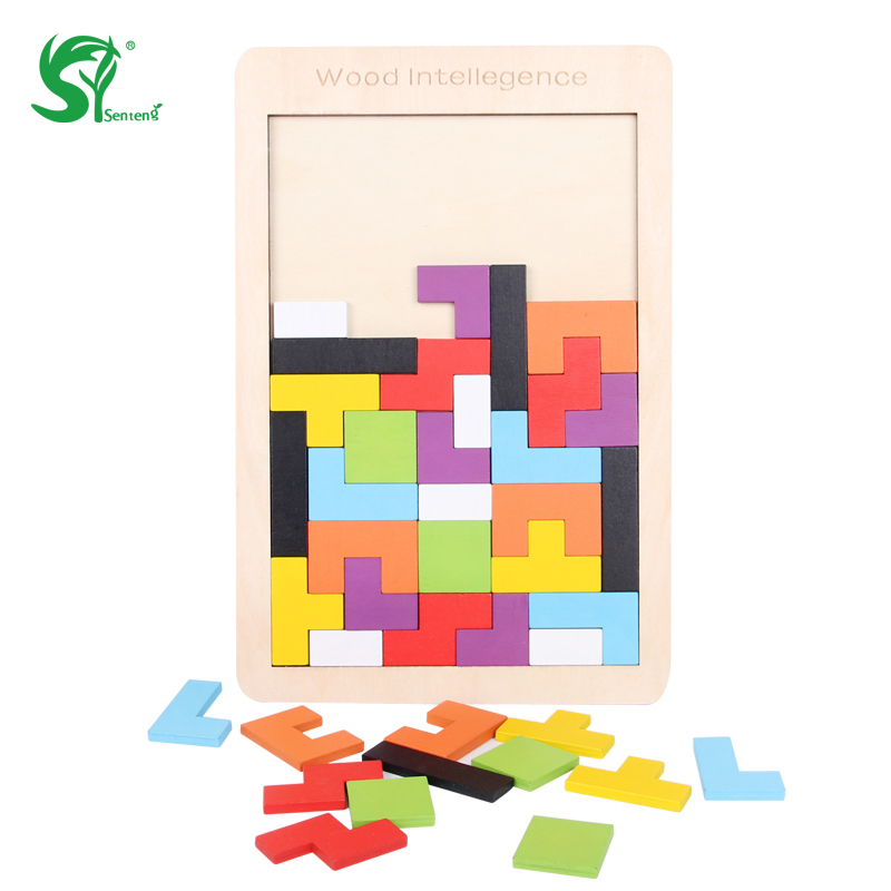 Wooden Toys for Children Tangram Puzzle Brain Teaser Puzzles Colorful Tetris jigsaw Intellectual Montessori Educational Kids Toy
