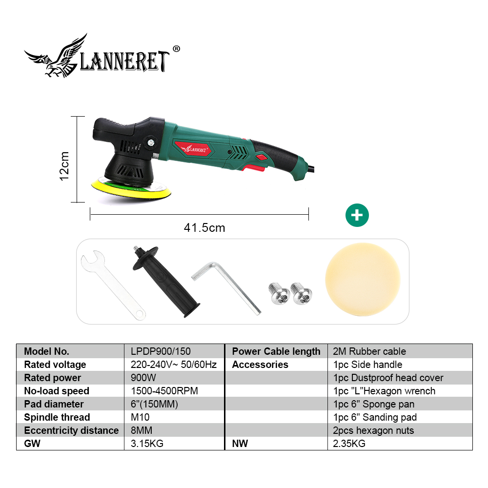 Image 2 - LANNERET 6'' Dual Action Polisher 900W Variable Speed Electric Polisher Shock and Polishing Machine Cleaner Polishing Pad-in Polishers from Tools