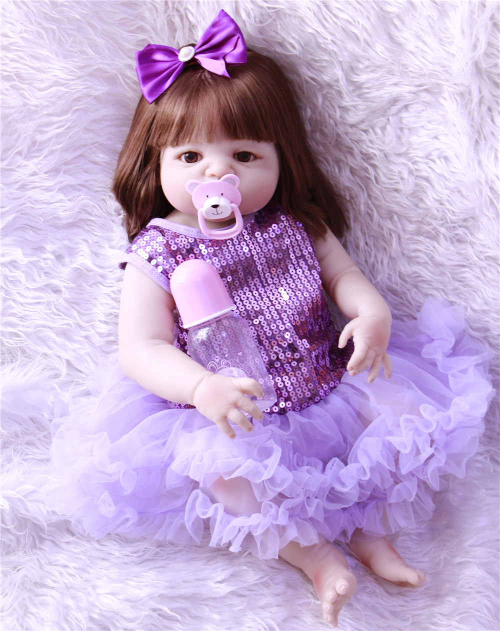 Princess pacifier+bottle 2257cm 100% full Vinyl silicone Reborn Baby Dolls Toy Lifelike Babies Girl Boneca kids birthday giftPrincess pacifier+bottle 2257cm 100% full Vinyl silicone Reborn Baby Dolls Toy Lifelike Babies Girl Boneca kids birthday gift