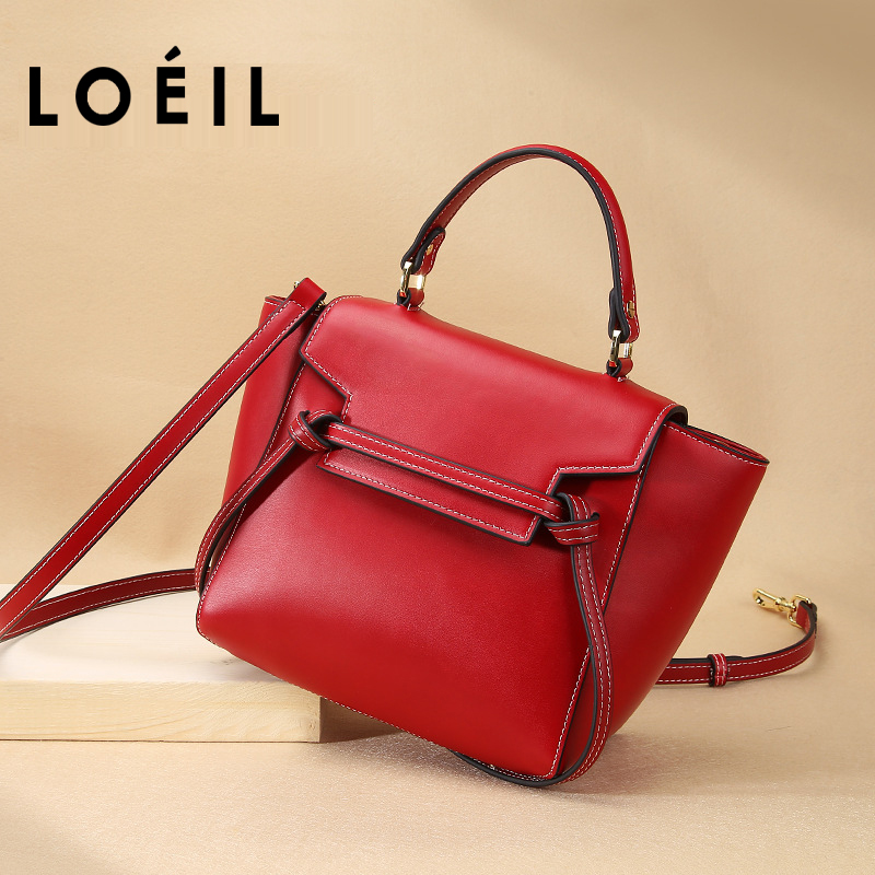 LOEIL Leather handbag 2018 new leather handbags portable slung shoulder bag female Europe and America trend smiley bag loeil autumn and winter leather cylinder bag female 2018 new cowhide round shoulder slung small bag portable