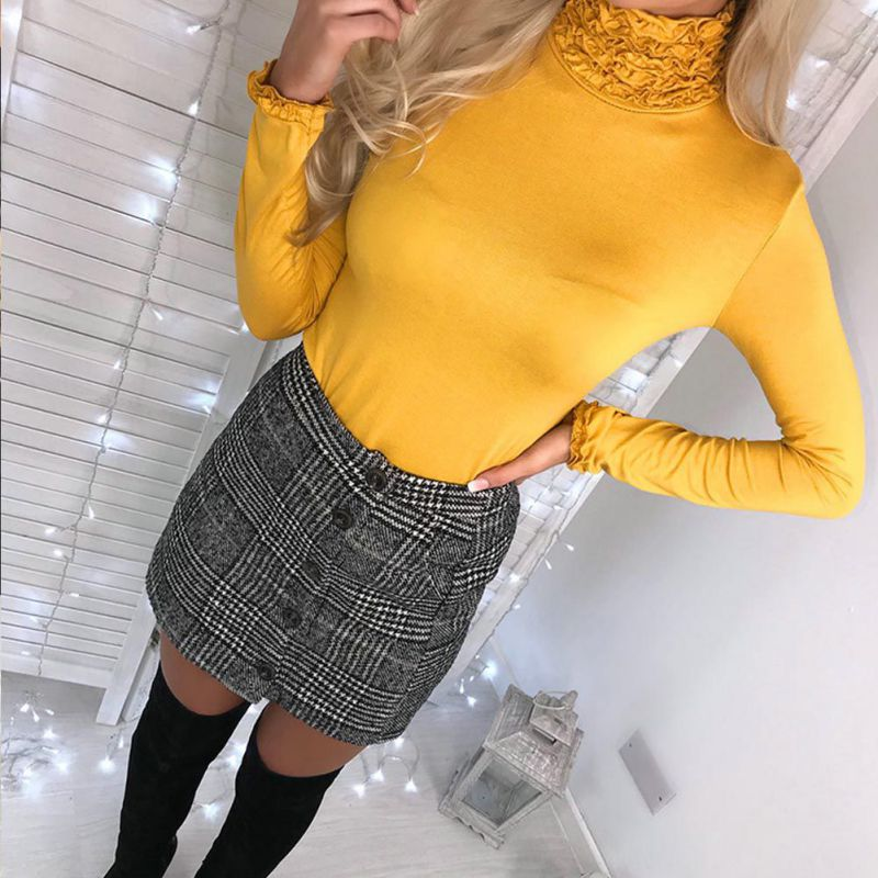 Women Sexy Lace Slim Sweater High Collar Autumn Winter Solid Color Long-Sleeved Casual Tops New