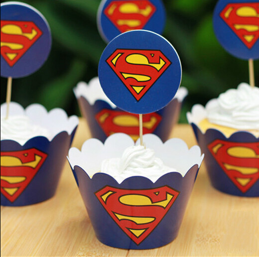 Aliexpress.com : Buy 24PCS/set Cartoon Superman Cupcake
