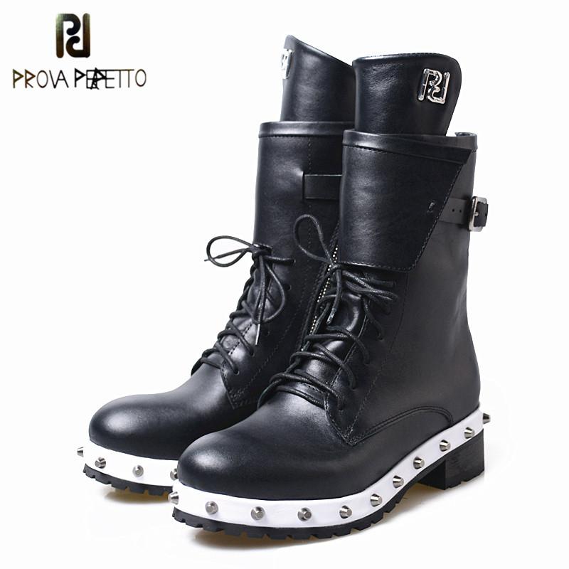 Prova Perfetto Hand-Made Great Quality Real Cow Leather Neutral Women Boots For Winter Autumn British Styles Cool Rivets Boots prova perfetto 2017 winter new styles women short boots high quality 100