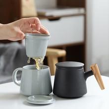 Креативные керамические кружки для заварки чая, чашка с крышкой, фильтр, деревянная ручка для молока, кофе, сок высокий стакан, настраиваемый Декор