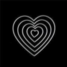 Scrapbooking Dies Stencil Craft-Cards Geometric Heart-Shape Metal Multi-Layers 5pcs Album