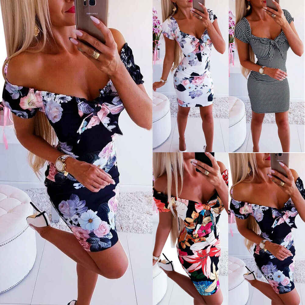 2019 Nieuwste Hot Vrouwen Bandage Schede Bodycon Dames Bloemen V-hals Casual Mouwen Bandage Avond Party Club Sexy Mini Jurk
