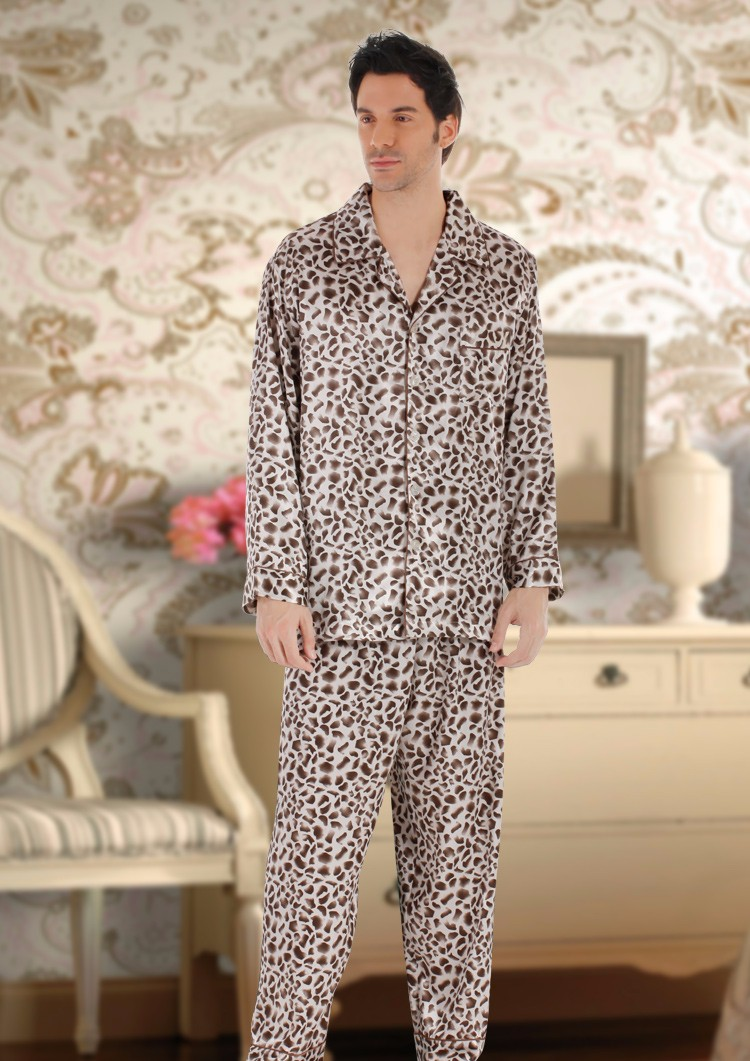 chinese pajamas men leopard satin men