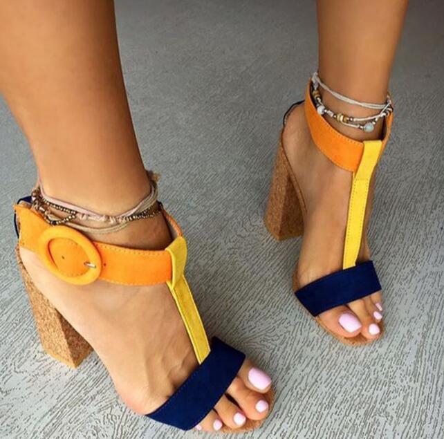 Fashion Woodblock Colorblock chunky high heel woman T t strap buckle high heel Sandals large size custom make 42 chunky sandal colorblock