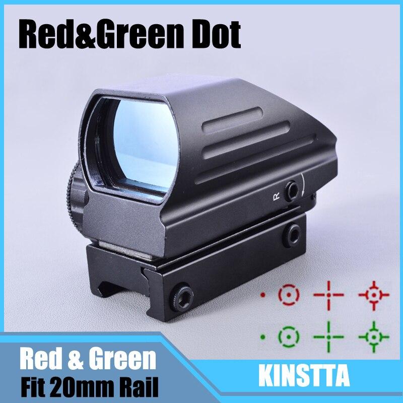 Tactique 1X Rouge Green Dot Sight Reflex Portée Lunette De Visée Optique 4 réticule Dot Reflex Optique Sight Portée Fit 20mm Rail pour La Chasse