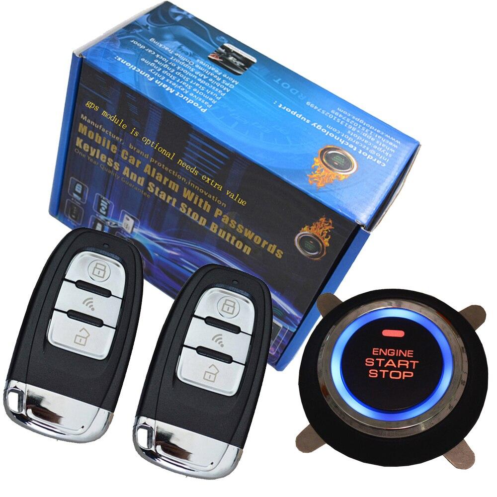 Système de sécurité de voiture intelligent verrouillage automatique sans clé passif ou déverrouillage de la porte de voiture bouton poussoir démarrage arrêt smart ani alarme de détournement