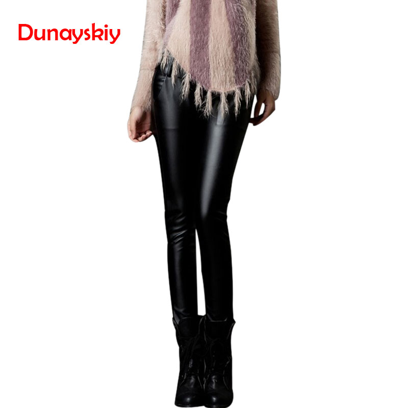 2019 Women PU   Pants   Winter Autumn Warm Faux Leather   Pants     Capris   Elastic High Waist Stretch Straight Long   Pants   Women PU