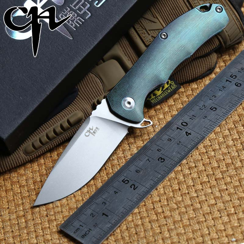 CH original small 3504 AUS-8 blade titanium handle ball bearing Flipper folding knife outdoors camping tactical knives EDC tool high quality zt0392 s35vn blade titanium alloy handle ball bearing system tactical folding knife hunting camping outdoors tool