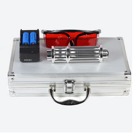 1W 450nm blue handheld laser  with five laser heads 2pcs16340 battery1pcs battery charger1pcs laser glasses and aluminium box
