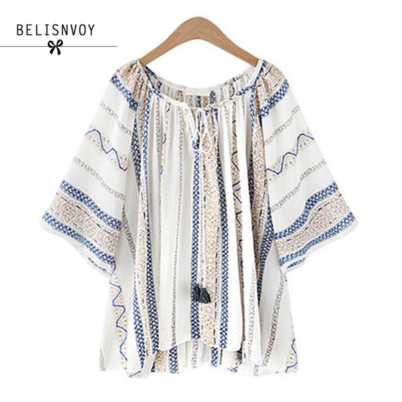 High Quality Summer Style 2018 Blouses Women Plus Size XL-5XL Fluid Systems Printed Casu ...