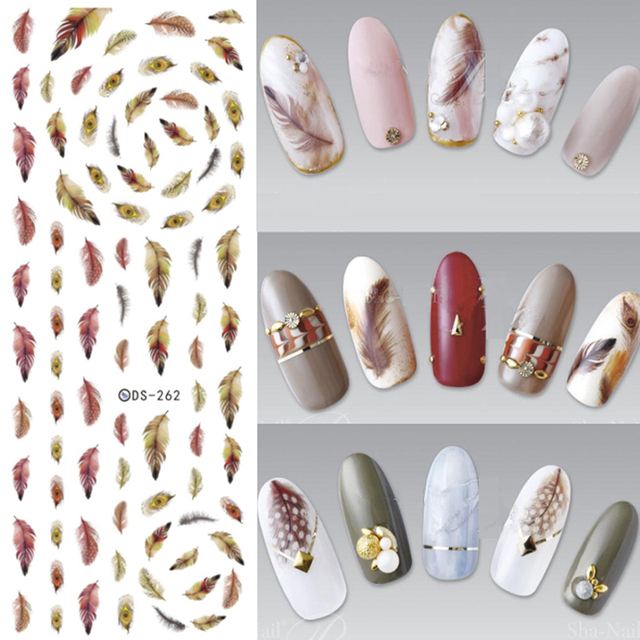 5pcs Water Transfer Nails Art Sticker Brown Yellow Feathers Nail